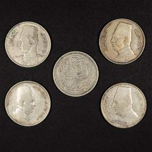 (Lot of 5) Egyptian silver 20 piastres