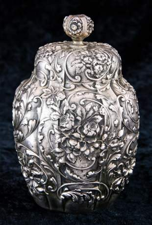 A Gorham Art Nouveau sterling tea caddy