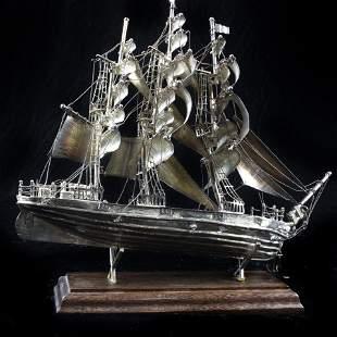 A Mexican silver ship model