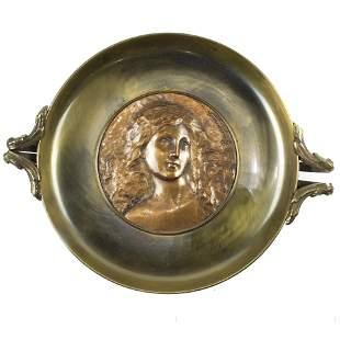Aesthetic Movement bronze tazza centering a copper wash