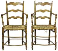 A pair of French Provincial ladder back side chairs