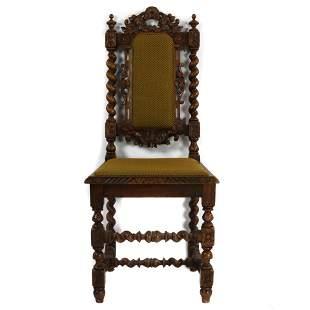 A French oak Louis XIII carved barley twist side chair