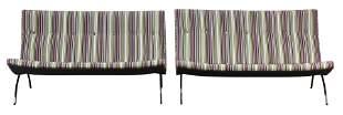 A pair of Milo Baughman scoop sofas
