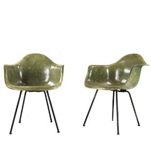 (lot of 2) Charles and Ray Eames Zenith DAX Sea Foam