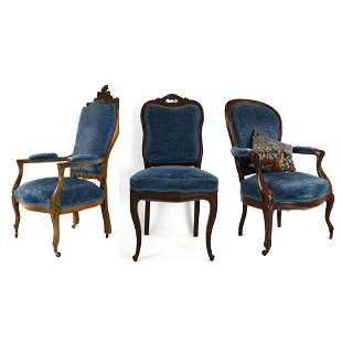 (lot of 3) Victorian chair group