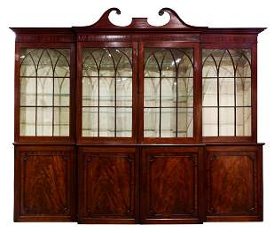George III mahogany breakfront cabinet