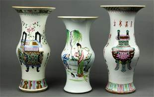 (lot of 3) Chinese famille rose vases