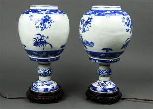 (lot of 2) Chinese blue and white lanterns