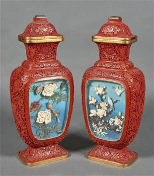 Pair of Chinese cinnabar lacquer covered vases