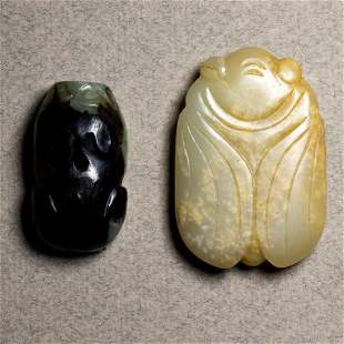 (lot of 2) Chinese jade toggles