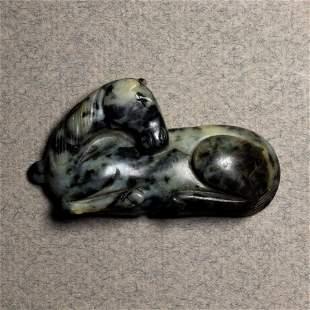 Chinese black and white jade horse pendant