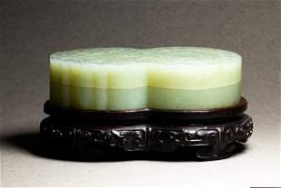Chinese celedon jade box