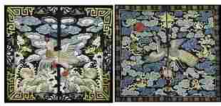 (lot of 2) Chinese embroidered silk rank badges