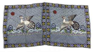 Pair of Chinese embroidered silk gauze rank badges