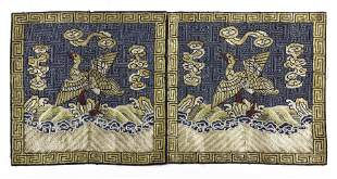 Pair of Chinese embroidered silk rank badges