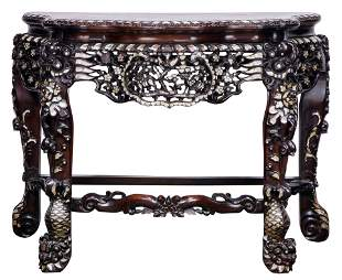 Chinese hardwood side table with mother of pearl inlay