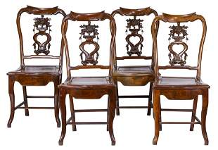 (lot of 4) Chinese hardwood side chairs