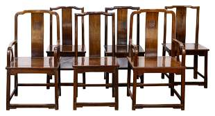 (lot of 6) Chinese hardwood chairs