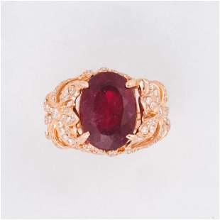 A pink tourmaline, diamond and eighteen karat rose gold