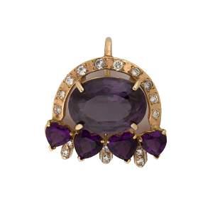 An amethyst, diamond fourteen karat gold pendant