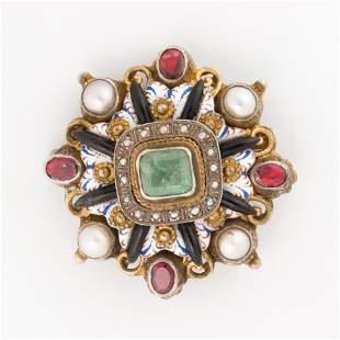 A Georgian enameled gemstone and gilt silver brooch