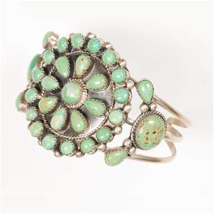 A Native American turquoise and silver cuff bracelet,
