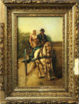 Mixed Media, Couple in a Horse Carriage