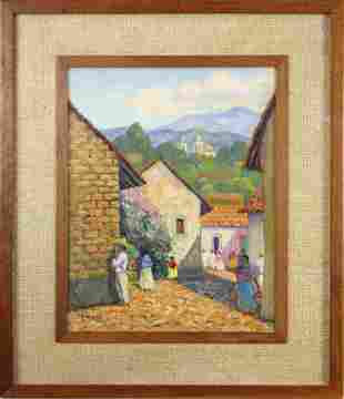 Painting, Mexican Village Scene