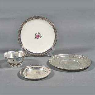 Richard Dimes and Shreve sterling plates; a Revere bowl