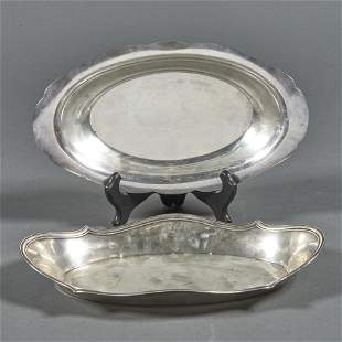 (lot of 2) Sterling bread trays: one by Shreve, the