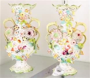 Pair English floral encrusted porcelain urns