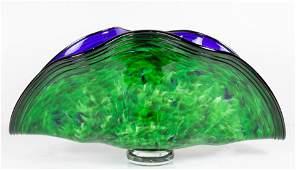 Art glass hand blown center bowl, having a flared shell