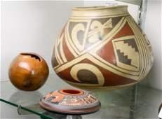 (lot of 3) Southwest pottery pots: a large pot by