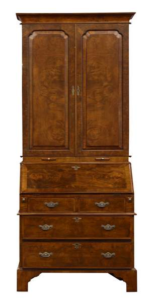 A George I style walnut bureau bookcase