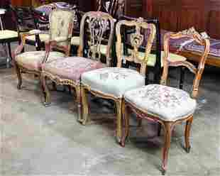 (lot of 4) Rococo chair group, each having a
