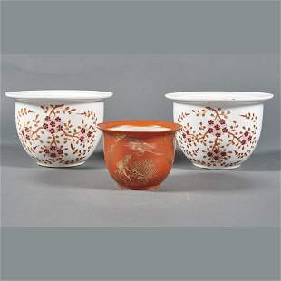(lot of 3) Chinese enameled planters