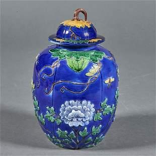 Chinese cobalt blue glazed lidded jar