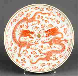 Chinese copper red dragon charger