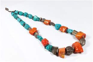 Asian necklace with turquoise, coral and silver beads