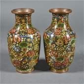 (lot of 2) Chinese cloisonne enamel vases