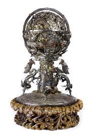 Chinese gilt silver mechanical celestial sphere