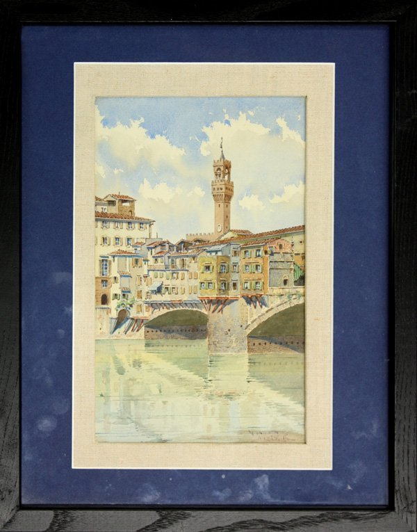 6006: Watercolor, Houses on a Bridge, Campanile, Tower