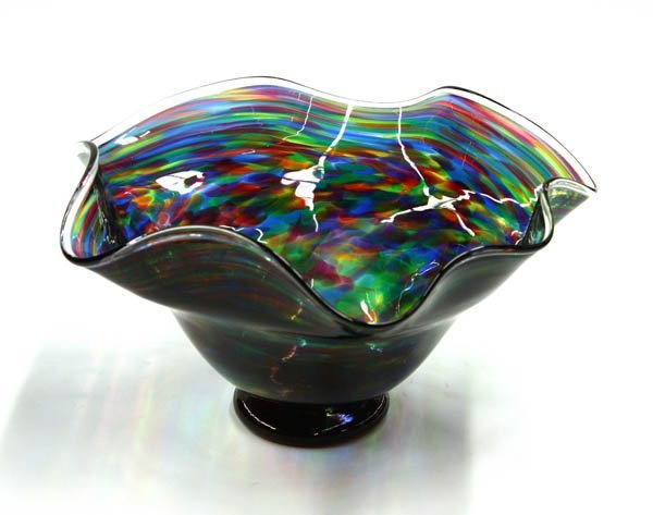 6020: Murano footed art glass vase