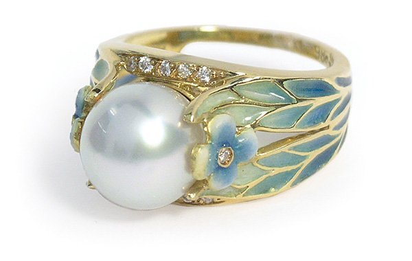 6461: Enamel pearl diamond plique-a-jour  ring