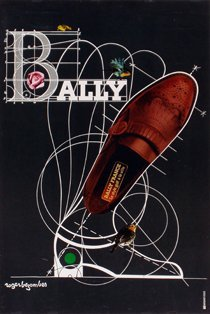 6599: Litho, poster, Bezombes, Shoes, Bally