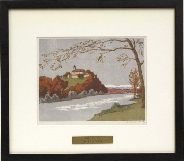 4002: Print, Carl Rotky, Riverside Scene