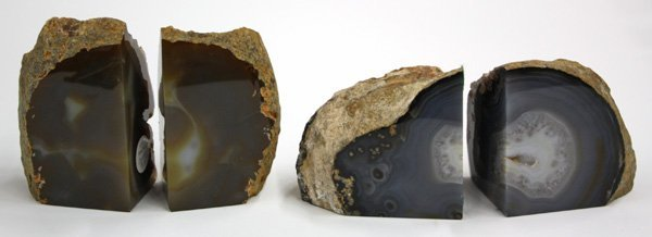 4013: polished geode section bookends