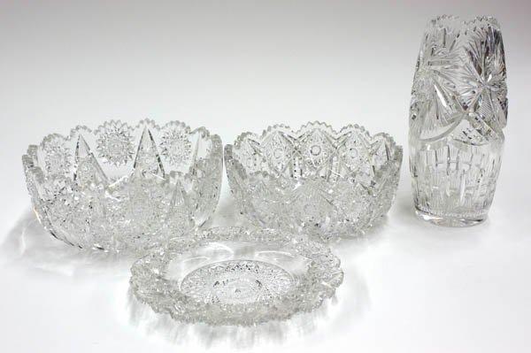 4014: American cut crystal bowls, vase, and coaster