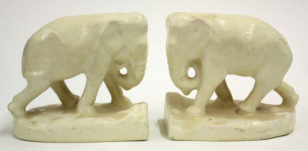 4021: Rookwood art pottery elephant bookends