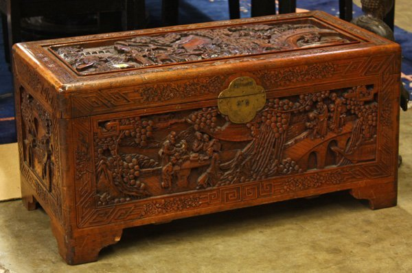 4111: Chinese Carved Camphor Wood Chest : Lot 4111